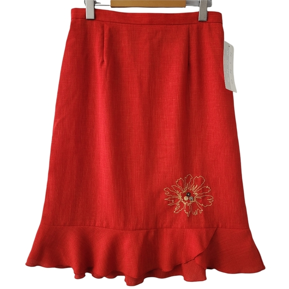 Vintage Red A-Line Embroidered Midi Skirt Ruffled Tulip Hem Stitched Floral NWT